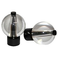 Terminal esfera cristal metal negro 19mm, 2 unidades