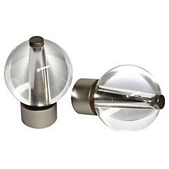 Terminal esfera cristal metal satinado 19mm, 2 unidades