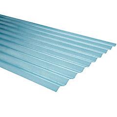 0,5mm x 0,85x3,50 m plancha traslucida Onda zinc natural