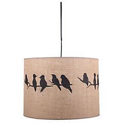 Lámpara colgar arpillera pájaros