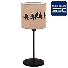 Lámpara mesa arpillera pájaros