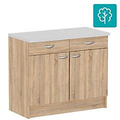 Mueble base 2 cajones, 2 puertas 99x50x85 cm OAK