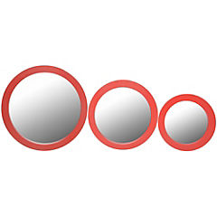 Set de 3 espejos redondo rojo