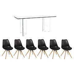 Juego de comedor Vidrio 6 sillas Clara negro