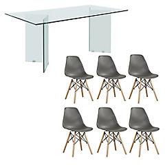 Juego de comedor Vidrio 6 sillas Badem gris