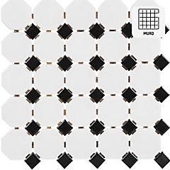 Malla Mosaico 29.5 x 29.5 cm Porcelanato Blanco/Negro