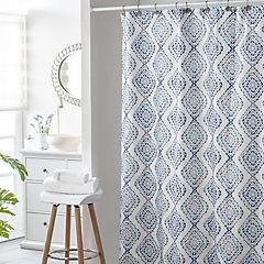 Cortina de baño con forro y ganchos 180x180 cm azul