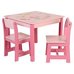 Mesa infantil con 2 sillas rosado