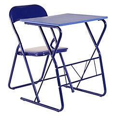 Escritorio metal + silla plegable azul
