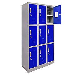 Office Lock 3 Cuerpo Triple Azul Con Porta Candado
