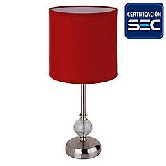 Lámpara de mesa tela 1 luz rojo