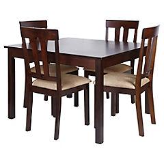 Juego de comedor 4 sillas café