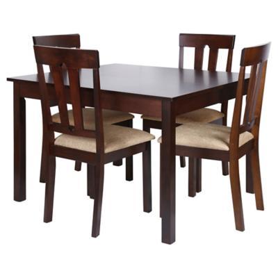 Juego de comedor 4 sillas caf for Sillas ergonomicas sodimac
