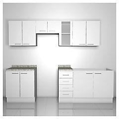 Combo mueble de cocina 11 puertas 4 cajones Blanco