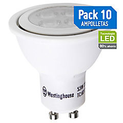 Pack 10 Ampolletas  Led 5,5 watts  Luz cálida GU10