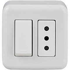 Interruptor y tomacorriente embutible con casquete 10 A Blanco