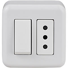 Casquete interruptor + toma corriente, blanco