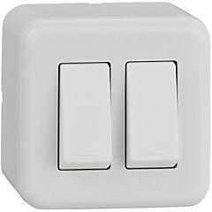 Interruptor doble embutible con casquete 16 A Blanco