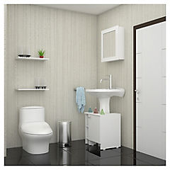 Kit de botiquín para baño + lavamanos Blanco