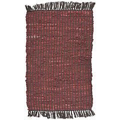 Alfombra Cuero Rayas Roja 60 x 90 cm
