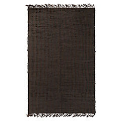 Alfombra Cuero rayas negro 120 x 170 cm