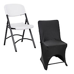 Combo Silla curva plegable blanca + Funda negra para silla