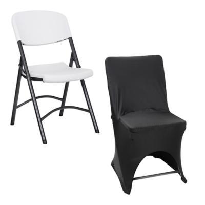Combo silla curva plegable blanca funda negra para silla for Sillas ergonomicas sodimac