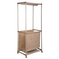 Cesto de ropa con ruedas 101,5x28x21 cm Beige