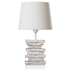 Lámpara mesa tronco blanca