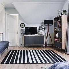 Alfombra Carrera Rayas Negras 150x220 cm