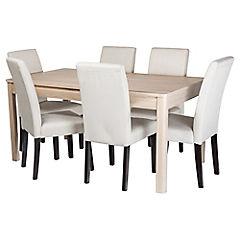 Juego de comedor Dakota 6 sillas beige