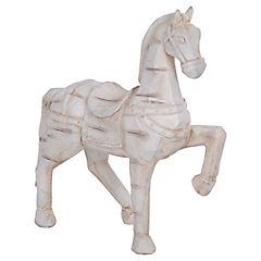 Caballo decorativo 40,5x38,5x13 cm poliresina blanco