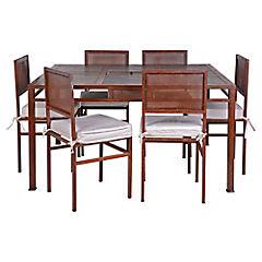 Comedor con Brasero 6 sillas Oxido
