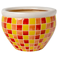 Macetero mosaico amarillo 30x21