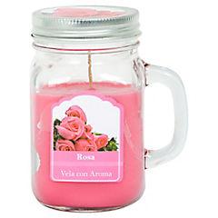 Vela en frasco rosa rosado