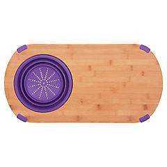 Tabla para picar bambú 60x30 cm con colador púrpura