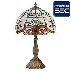 Lámpara mesa Tiffany café E27 60 W