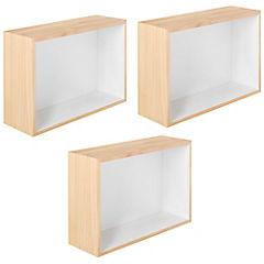Set de repisas rectangulares MDF 32x42 cm 3 unidades Blanco