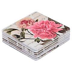 Set 6 Posavaso Flores Rosadas 10 x 10 cm