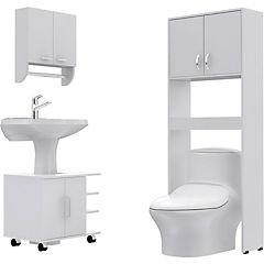 Combo Botiquín 28 + mueble bajo lavamanos 55 + Estante 63