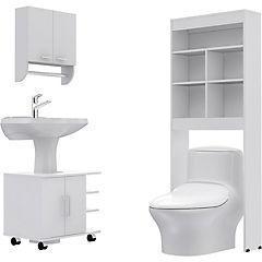 Combo Botiquín 28 + mueble bajo lavamanos 55 + Estante 20