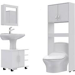 Combo Botiquín 47 + mueble bajo lavamanos 55 + Estante 63