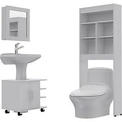 Combo Botiquín 47 + mueble bajo lavamanos 55 + Estante 20