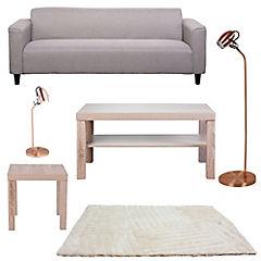 Combo Living Sofá 3 cuerpos+Mesa centro+Mesa lateral+Alfombra+Lámparas