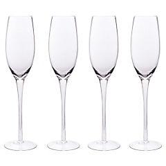 Set de copas flute vidrio 270 ml 4 unidades transparente