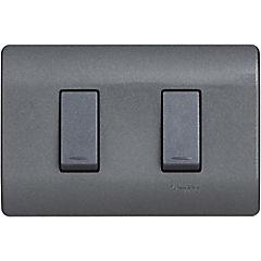 Interruptor doble 9/15 embutible con placa 16 A Humo