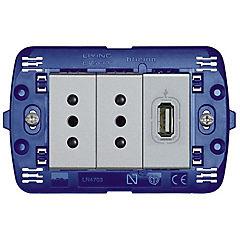 Tomacorriente doble 750 mA con conexión USB Aluminio