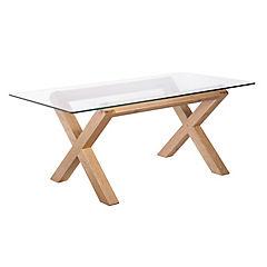 Mesa Lyon rectangular madera vidrio 180x90x75 cm