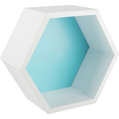 Repisa hexagono 27 x 23 x 12 cm turquesa