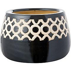 Macetero masai de cerámica 17x14 cm blanco